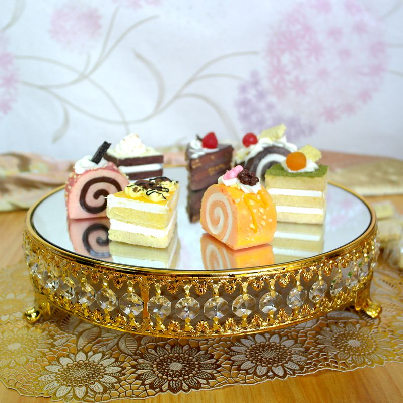 Gold plated new style crystal chain mirror cake stand for Aana decoration wedding accessories