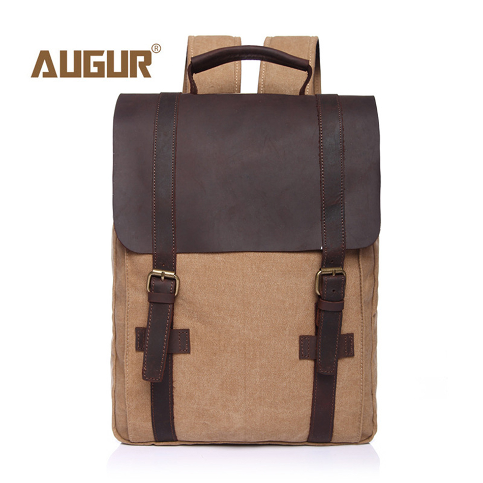 AUGUR Fashion Canvas Backpack Women Children School Bag Vintage Knapsack Laptop Travel Bags for School Teenage Men Male BackPack men laptop backpack 15 inch rucksack canvas school bag travel backpacks for teenage male notebook bagpack computer knapsack bags