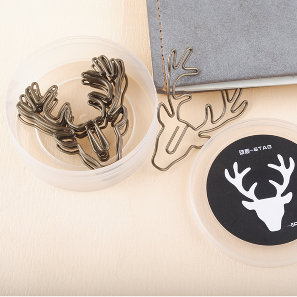 8pcs/lot Vintage Deer Head Paper Clip Desk Office Multifunctional Metal Bookmark Paperclip Box Packed School Stationary Supplies Structural Disabilities Office Binding Supplies Office & School Supplies