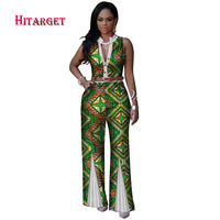 African Print Women Colthes V Neck Sleeveless Summer Sexy Romper Wide Leg Pants African Ladies Jumpsuits Rompers WY2875