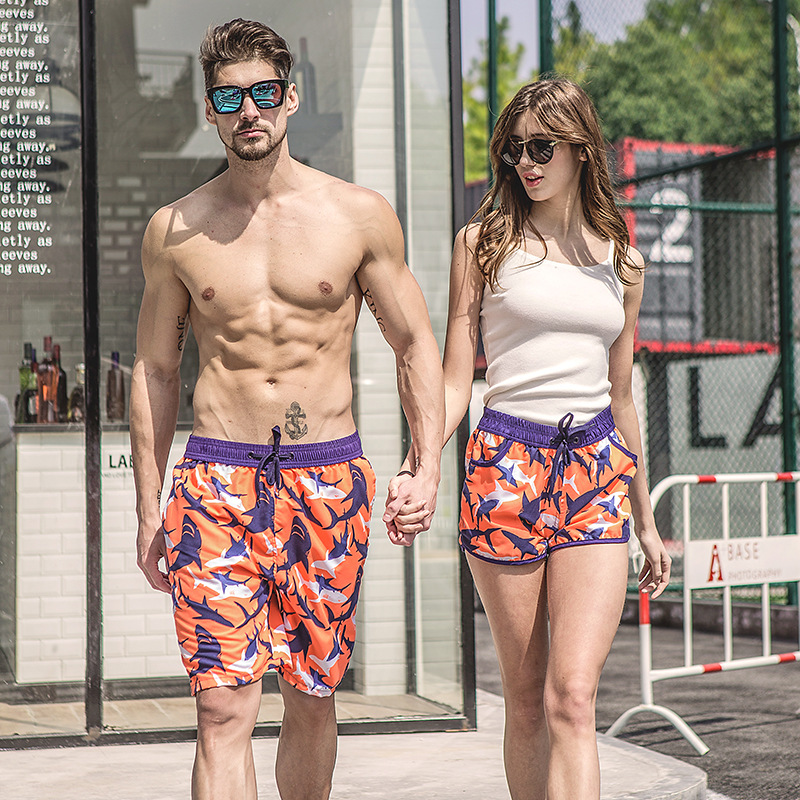 Couple Beach Shorts Fast Dry Swimwear Mens Women Swim Surfing Board Sweatpants Bermuda Swim Suit Lover Plus Size Swimming Trunks