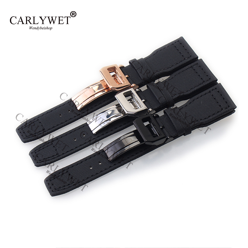 CARLYWET 22mm Black Nylon Fabric Leather Band Wrist Watch Band Strap Belt Bracelet 316L Stainless Steel Buckle Deployment Clasp nylon watch band 22mm for ticwatch 1 46mm stainless steel pin buckle strap wrist belt bracelet black blue orange spring bar