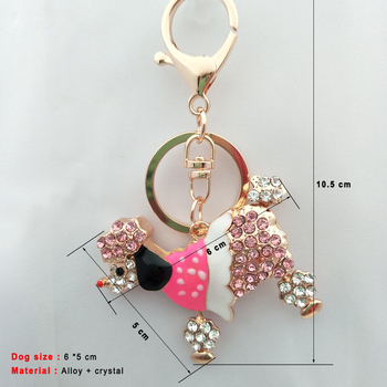 6*5CM Lovely Crystal Pet Poodle Dog Keychain Animal Keyring Key Finder For Women Bag Car Pendants Key Rings Chain Charm Jewelry