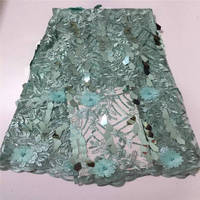 Aqua Green Shining Sequence Lace Fabric Beaded French Laces Fabrics High Quality Tulle French Nigerian Lace Applique Dress QF224