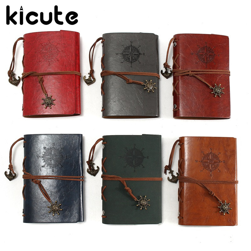 Kicute Retro Design Leather Cover Notebooks Personal Diary Journals Agenda Kraft Paper Sketchbook Handmade Travel Notebook Gift