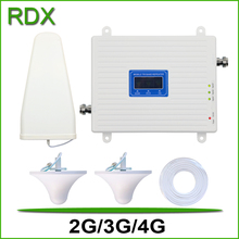 For 2 Rooms new lcd display 2g 3g 4g triband cellphone booster gsm900 dcs1800 w-cdma2100 mhz mobile phone repeater amplifier