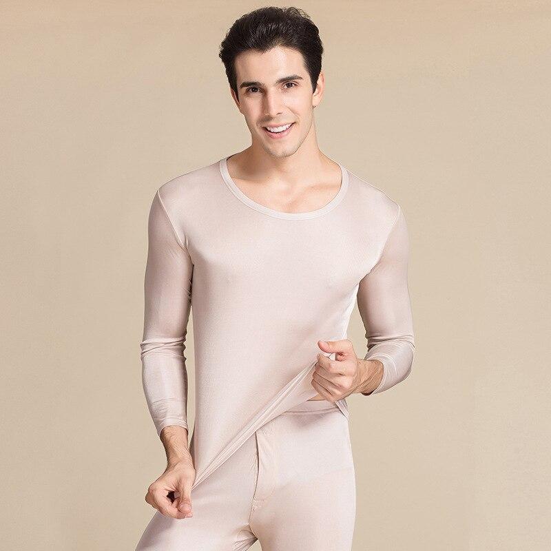 High Quality Autumn Men's Long Sleep Wear Men Warm Underwear Men's Thermal Antibacterial Pijama High Grade 100% Real Silk G9802