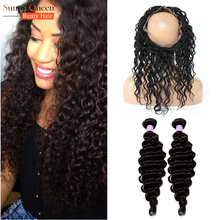 7A 360 Lace Frontal With Bundle Peruvian Virgin Hair With Closure Deep Wave With Closure 360 Lace Frontal Closure With Bundles