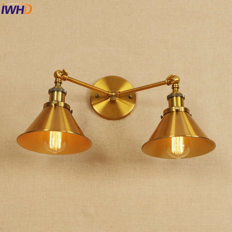 IWHD Iron Adjustable LED Wall Lamp Vintage Industrial Wall Light RH Retro Loft Bedside Sconce Fixtures Home Lighting Luminaire iwhd iron pulley led wall lamp vintage industrial wall light rh retro loft bedside sconce fixtures for home lighting luminaire