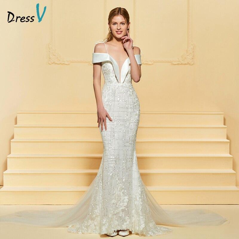 19e73bfe7f3 Dressv dlouhé slonoviny svatební šaty popruhy krajka Watteau vlak ...