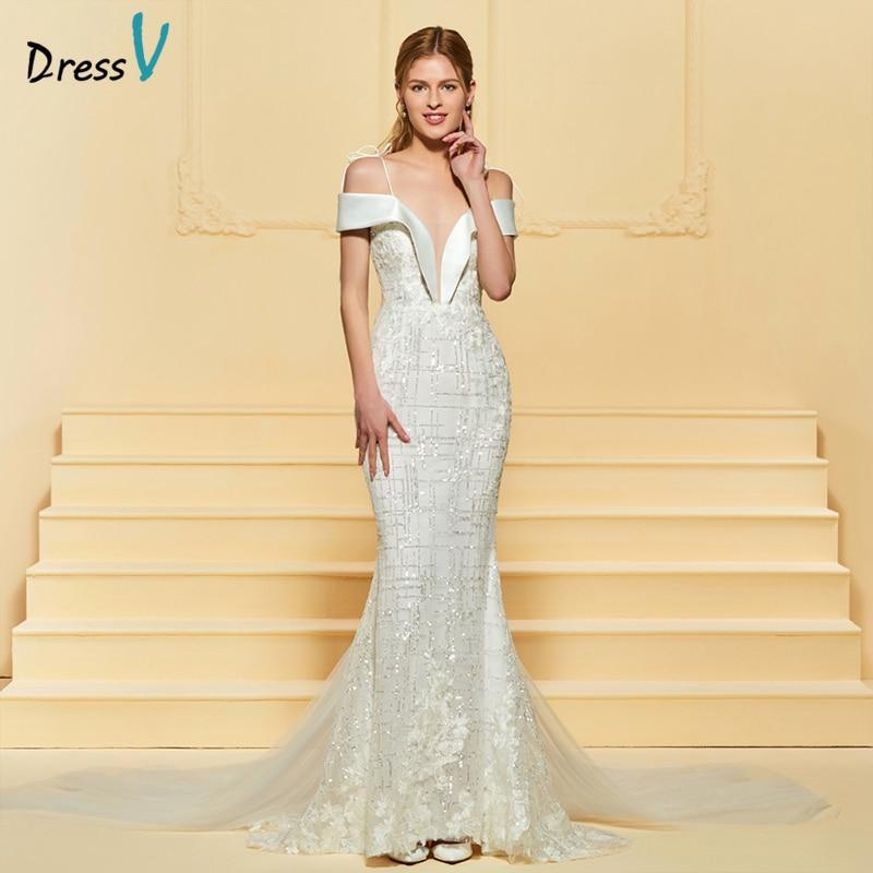 Dressv vestido de novia de marfil largo correas de encaje Watteau - Vestidos de novia