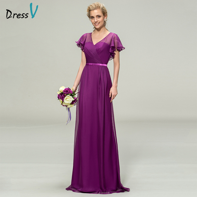 Dressv Purple Long Bridesmaid Dress V Neck Short Sleeves A Line Pleats Chiffon Elegant Wedding