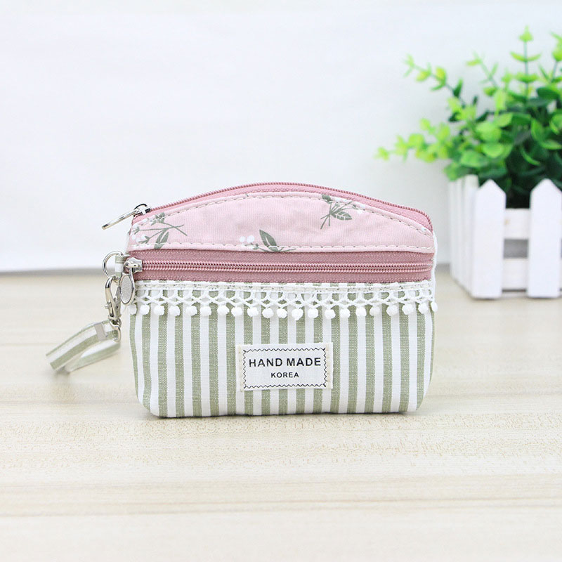 Women Mini Coin Purse Canvas Lace Striped Card Bag Key Holder Zipper Lady Clutch Money Bags Girl Change Wallet WML99 coneed fashion women coins change purse clutch zipper zero wallet phone key bags j27m30