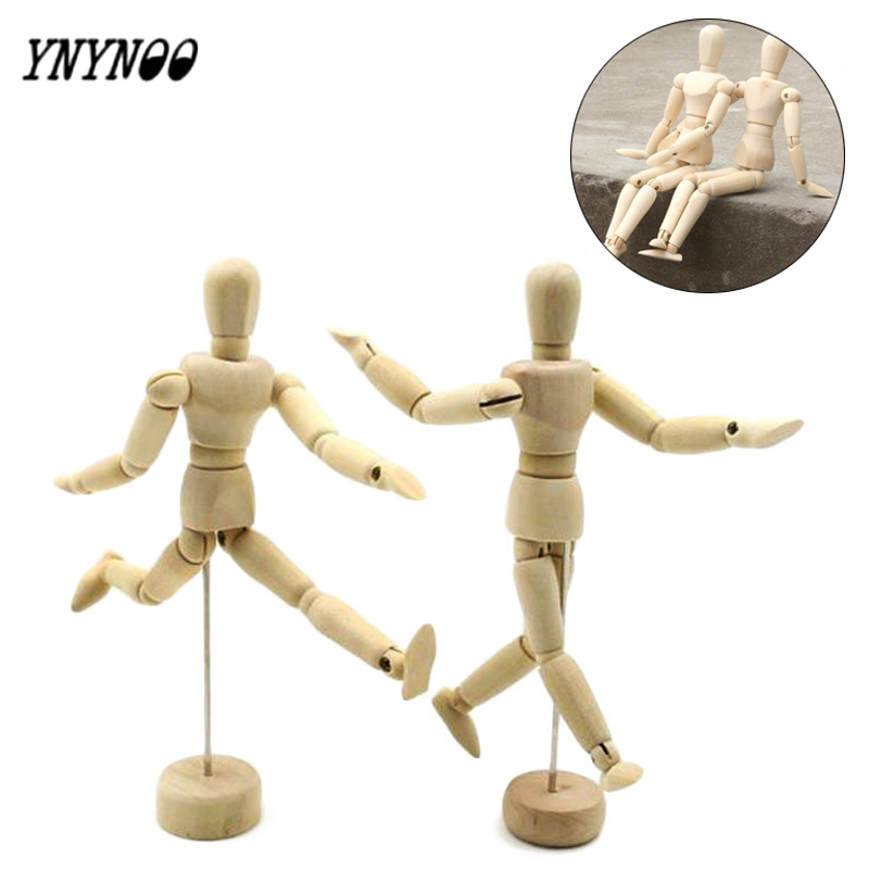 YNYNOO 14-40CM Wooden Jointed Doll Man Artist Figures Model Painting Sketch Manikin Blockhead Jointed Mannequin Can rotat Puppet new 1pc right left hand wooden model sketching drawing jointed movable fingers mannequin w15