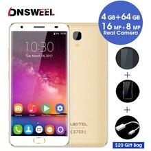 Оригинальный Oukitel K6000 плюс 4 г мобильных телефонов Android7.0 4 ГБ + 64 ГБ смартфон 16.0MP 6080 мАч 5.5 дюймов FHD dual sim gps Сотовые телефоны