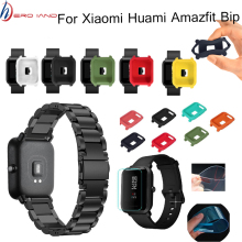 3in1/Pack For Amazfit Bip Straps Stainless Steel Band for Xiaomi Huami Watch Case Cover Screen Film