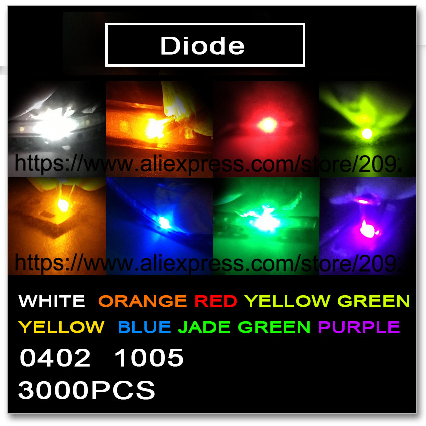 Replacement Parts & Accessories Initiative Jasnprosma 0402 1005 Smd 3000pcs Red Orange Yellow Green Jade Green Blue White Purple Sample Light Smd Colors Uv Kit 1*0.5 Led