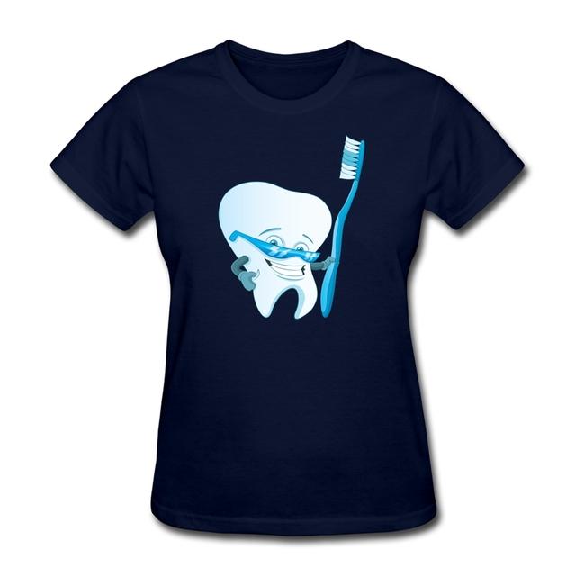 Chic Divertido diseño holding cepillo de dientes de la Mujer T Shirt de Algodón de Cuello Redondo t shirt venta