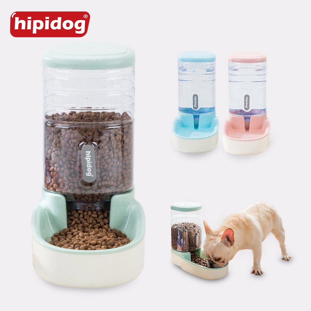 Hipidog 3.8L Pet Drinking Water And Feeding Device Dog Cat Feeder Food Storage Doggy Kitten Water Fountain Automatic Pets Feeder