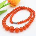 Best selling!Orange jade 6-14mm necklace 18 inches,round bead stone tower chain,send the same paragraph earrings wholesale