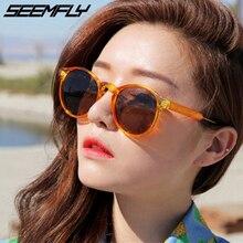 Seemfly Retro Round Sunglasses Women Men Brand Design Transparent Female Sun Glasses Men Oculos Gafas De Sol UV400 Shades Unisex