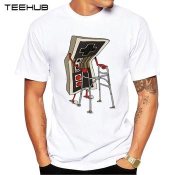 TEEHUB New Fashion Old Gamer koszulka męska z zabawnym nadrukiem koszulki męskie z krótkim rękawem bluzki w stylu geek tanie i dobre opinie Na co dzień Poliester Elastan O-neck regular Cartoon Dzianiny Mężczyźni Topy Tees