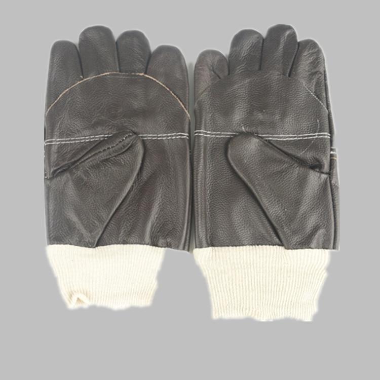 Labor Protection Gloves  A Layer Of Cowhide Welder Arc Welding  Splash Proof  Short Wear  Welding  Sailor Gloves  Dark Color international labor migration