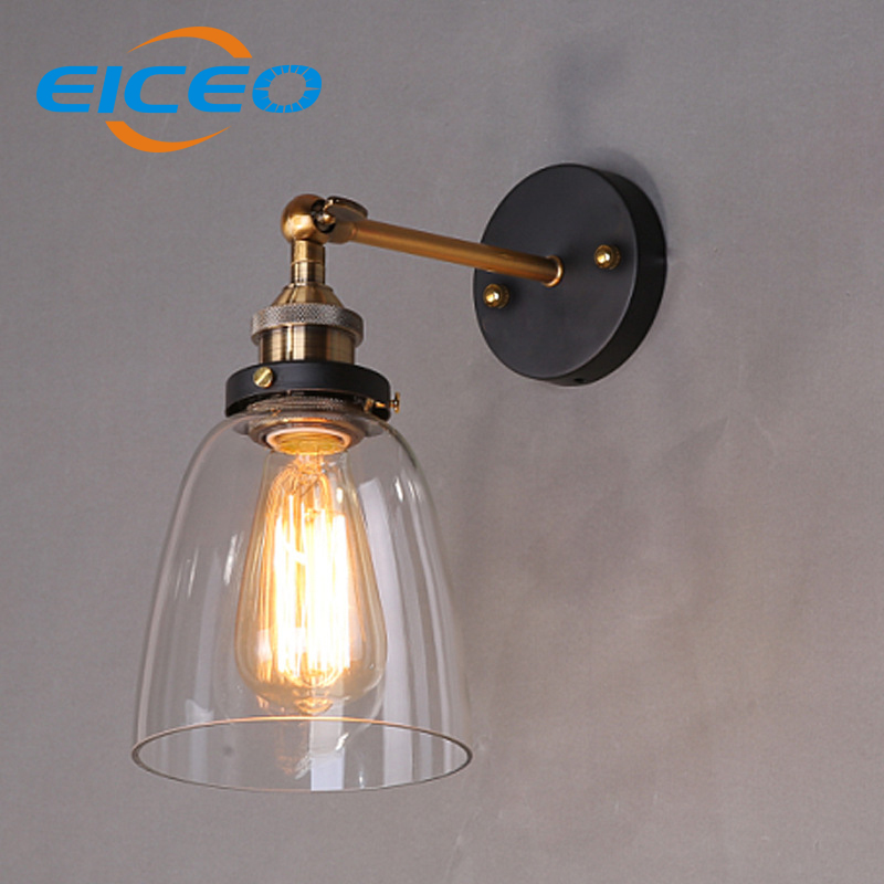 ФОТО (EICEO) Personality Retro American Country Antique Glass Wall Lamp Style Creative Personality Copper Funnel Wall Light AC220V