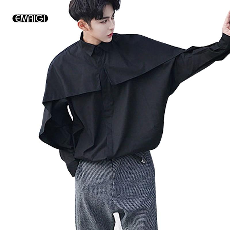 Men Long Sleeve Shirt Bat Sleeve Loose Casual Shirt Male Stage Fashion Show Punk Rock St ...