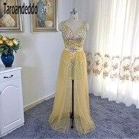 Двойка золото AB Камни Бисер Выпускные платья со съемной юбкой шикарные Кристаллы Homecoming платье vestidos de formatura