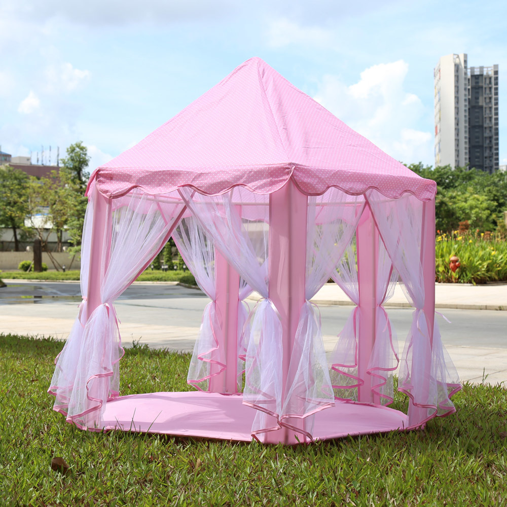 Portable Princess Castle Play Tent Activity Fairy House Folding Toy Tents Children Kids Play House Hut Cubby Outdoor Sports
