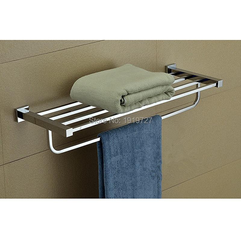 Bathroom Mirror Polished Stainless Steel Towel Rack Wall Mounted ...