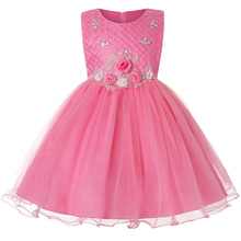 New baby princess evening dress flower sleeveless Plaid lace 61 festival children stage performance summer style