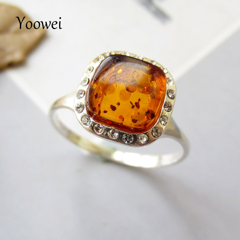 Yoowei Natural Amber Rings for Women Shining Cognac Ring Solid 925 Sterling Silver Square Baltic Genuine Amber Jewelry Wholesale