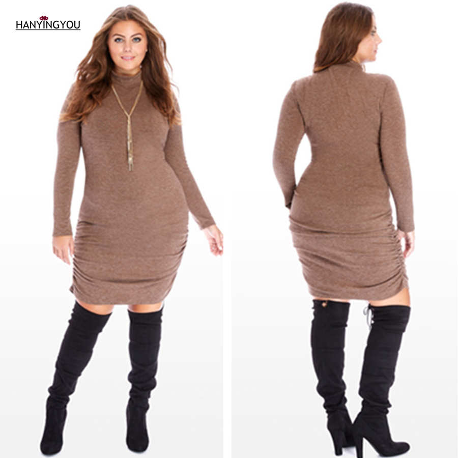 2017 Autumn Winter Fashion Turtleneck Long Sleeves Brown Sheath Slim