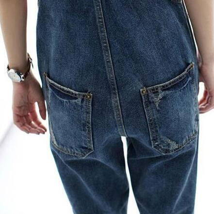 Size Tutina Ah628 Dei Allentati Femminile Signore Complesso Tasca Pagliaccetti Donne Denim Con Jeans Plus Tuta Retro Molla gOPPqf