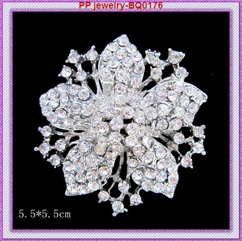 Винтажная серебристый цвет прозрачный горный хрусталь Кристалл Необычные Цветок Брошь шпильки Свадебные/вечерние брошь