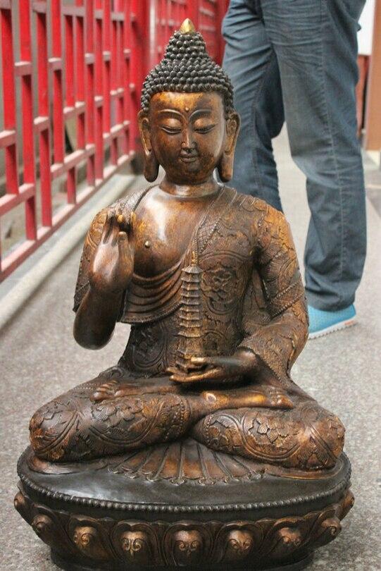 USPS to USA S1747 30 Old Tibet Bronze Gilt Temple Shakyamuni Sakyamuni Buddha Statue Hold Stupa (B0328)|usp|usp s|  - title=