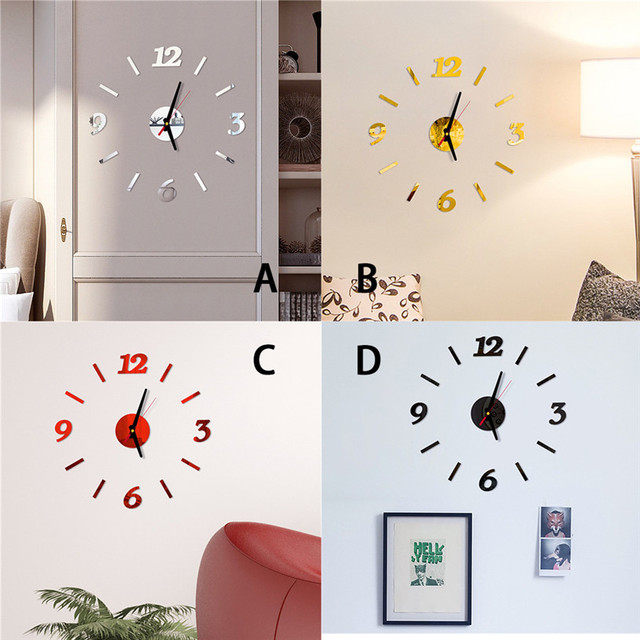 diy Mirror Wall Clock Sticker Acrylic 3D Roman Numbers Clock Wall Art Watch Decals Wall Clocks for Living Room Home Office 9M14 6