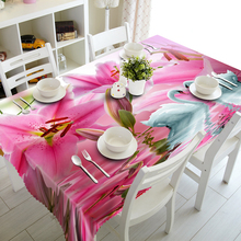 Tapestry Tablecloth Flowers Pink White Under 3d Swan Romantic