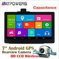 7 polegada android Sistema de Navegação GPS + HD câmera de visão traseira do carro sem fio, Capacitiva navegador gps bluetooth + Wifi + AVIN + 512MDDR3 + 8 GB