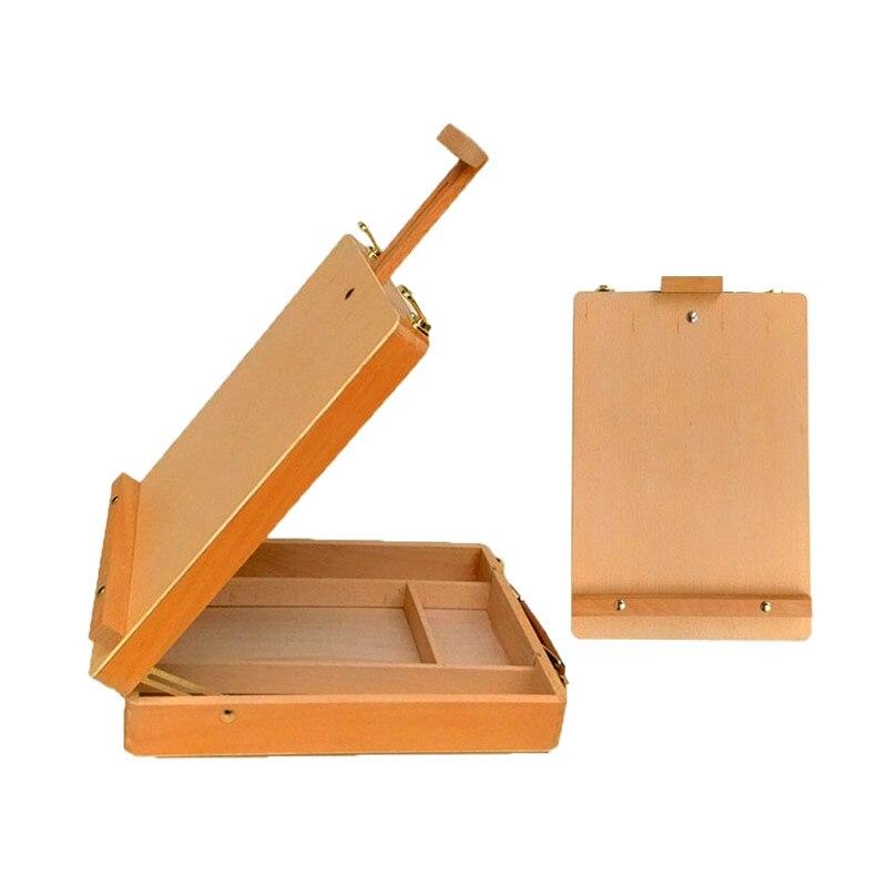 Portable bureau hêtre chevalet peinture à l'huile croquis chevalet en bois aquarelle étagères de bureau art outils boîte de rangement peinture fournitures