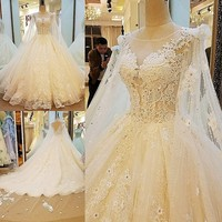 2018 Luxury Embroidery Organza Ball Gown Long Tail Wedding Dresses O neck Lace Flower Crystal Beaded Ruffled Skirt Bridal Gowns
