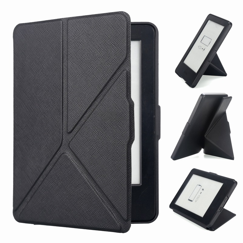 Origami Stander Magnetic PU Leather Folio Case For Amazon Kindle Paperwhite 1 2 3 Foldable Shell Cover For Paperwhite 3