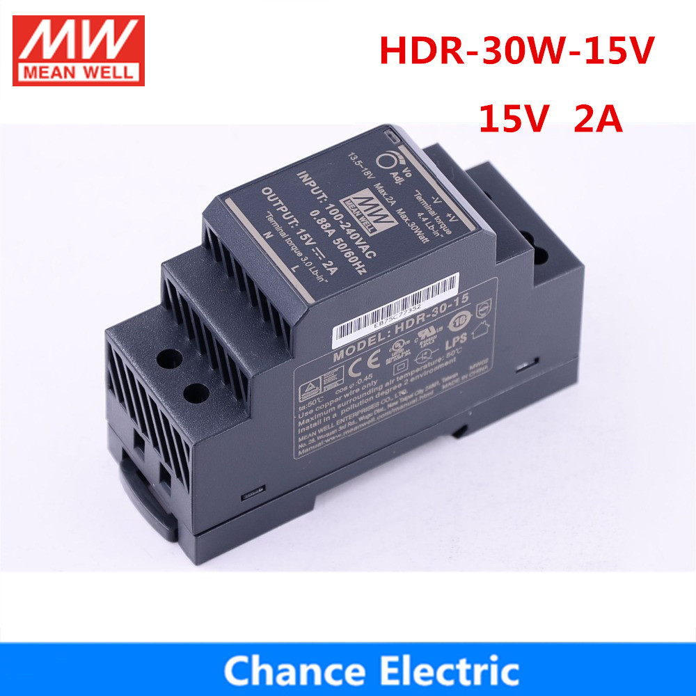 15V 30W 2A HDR-30W meanwell Switching Power Supply DIN Rail Power Supply 15v mini slim size power source step shape HDR-30-15v dhl ems power source vtc24sa 24v 3 2a a1