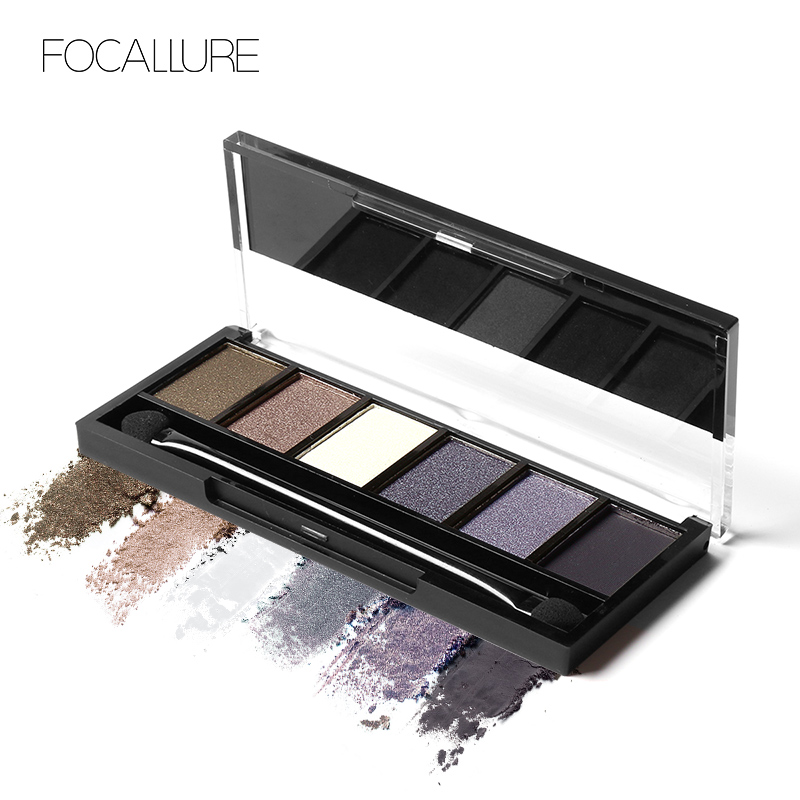 FOCALLURE 6 Colors Eye Shadow Makeup Shimmer Matte Eyeshadow Earth Color Eyeshadow Palette Cosmetic Makeup Set Nude Eye Shadow