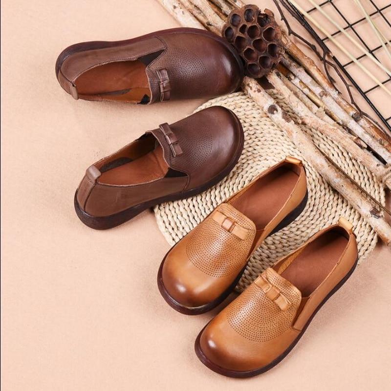 100% Wahr Frauen Wohnungen Vier Jahreszeiten Handgemachte Schuhe Frau Echtem Leder Turnschuhe Damen Vintage Casual Schuhe Schuhe Für Frauen Weder Zu Hart Noch Zu Weich