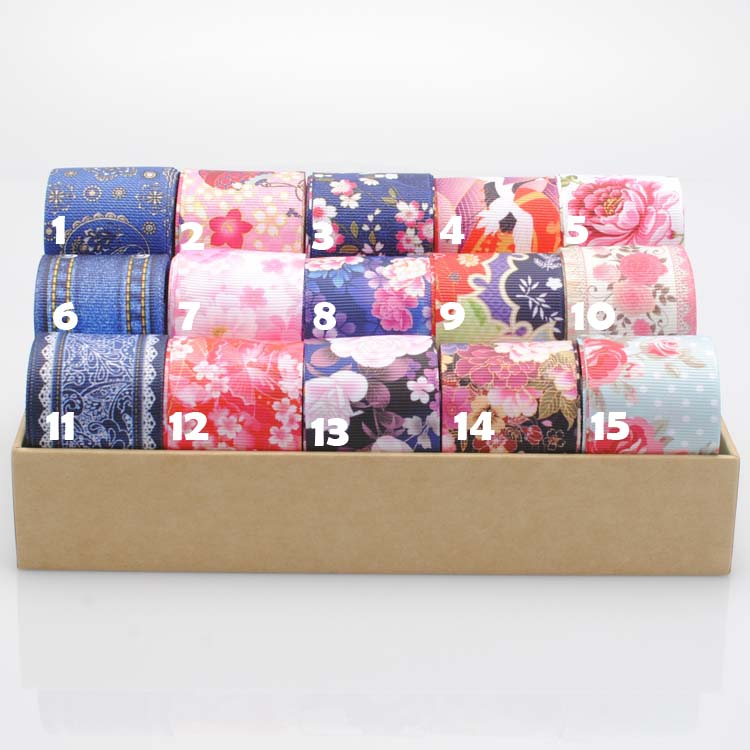 20Y 1238mm new hot  ribbon Japanese style flower ribbon pattern Printed grosgrain ribbon hairbow DIY gift