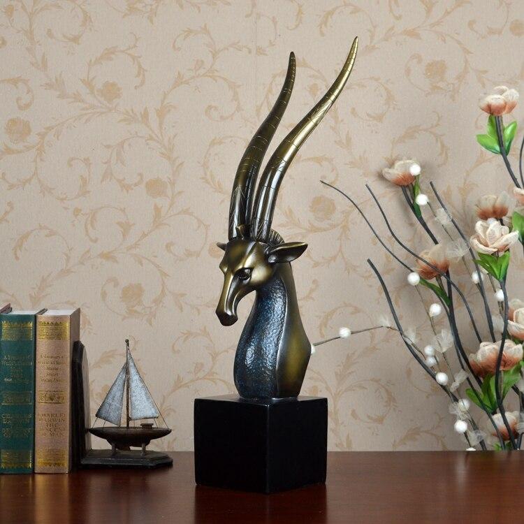 Полимерная для домашнего декора статуя голова антилопы Ретро отель фэн шуй креативный номер статуя Рождественское украшение Высокое Качество Классическое ремесло