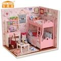 Miniatura de Móveis Casa de Bonecas artesanais Diy Casas de Boneca Em Miniatura Casa De Bonecas De Madeira de Presente de Aniversário de Brinquedos Para As Crianças Os Adultos H012